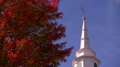 Granby, massachusetts church in fall Stock Footage