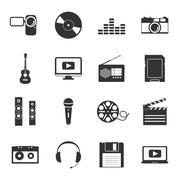 Multimedia black and white flat icons set Stock Illustration