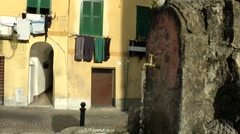 Europe Italy Liguria region Camporosso village 018 faucet in a stone Stock Footage
