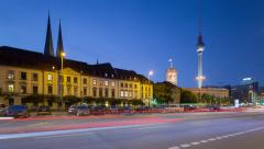Berlin Skyline Cityscape Timelapse with dynamic Traffic on Street in 4K UHD Stock Footage