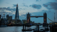 4k Ultra HD  timelapse of tower bridge and the shard in London England Stock Footage