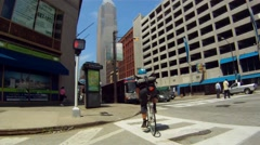 Cleveland Bicycle Courier (2 of 7) - stock footage