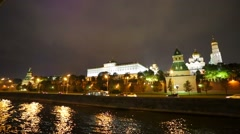 Boat ride by Moscow river near Kremlin at night - stock footage