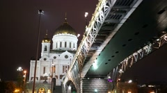 Cathedral of Christ the Saviour at night - stock footage