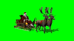 Santa with sleigh and running reindeers - green screen - stock footage
