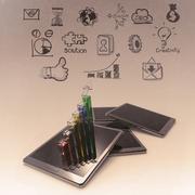 Mobile phones technology business Stock Illustration