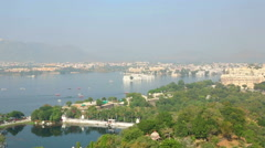 Panoramic view of the Indian city of Udaipur out of moving cableway. Stock Footage