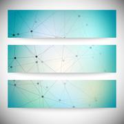 Set of horizontal banners. Abstract blue background vector illustration - stock illustration