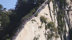 People on Huashan Green Dragon Ridge 03 Stock Footage