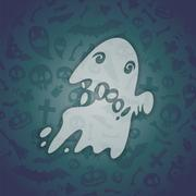 halloween card with spooky boo. - stock illustration
