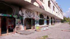Steadycam - Ghost town Consonno - city of toys - abandoned city Stock Footage