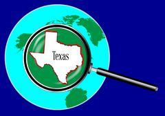 Magnifying glass over texas Piirros