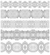 collection of seamless ornamental floral stripes, black and whit - stock illustration