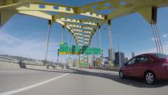 4K Welcome to Pittsburgh Fort Pitt Bridge Stock Footage