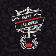 Stock Illustration of happy halloween card with spider