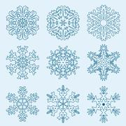 Snowflake icon. winter theme. winter snowflakes of different shapes. Stock Illustration