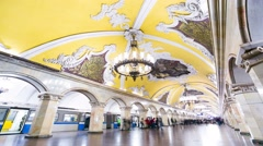 Moscow subway, Komsomolskaya station. Stock Footage