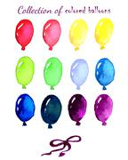 Collection of colored balloons painted live watercolo - stock illustration