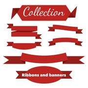 The collection of retro ribbons banners - stock illustration