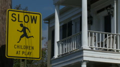 Sign Slow Children at Play Stock Footage