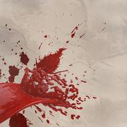 3d paint red color splash isolated on wrinkled paper - stock illustration