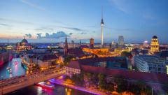 Berlin Skyline Light City Timelapse with Speed Boats and Traffic in 4K UHD Stock Footage