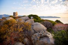 Coastal tower villasimius, sardinia, italy Stock Photos