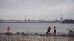 Harbor coast reconstruction Stock Footage