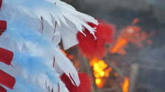 Native american feathers fire Stock Footage