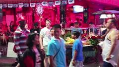 Walking Street - red-light district in Pattaya, Thailand Stock Footage