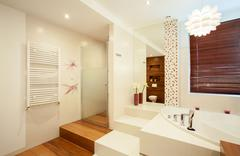 interior of wooden bathroom - stock photo