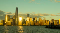 Freedom Tower and Skyline Day-to-Night Timelapse 1a Stock Footage