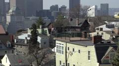Establishing shot of buildings in downtown Cincinnati Stock Footage