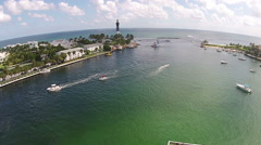 Coastal lighthouse aerial view Stock Footage