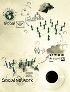 3d coffee cup on social network diagram - stock illustration