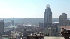 Cincinnati Cityscape with stadium Stock Footage