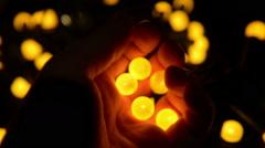 Bright yellow balls glowing Stock Footage