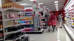 Shopper inside target store Stock Footage