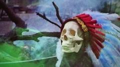 Skull creepy weird Stock Footage