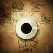 the big idea diagram cup of coffee vintage paper background - stock illustration