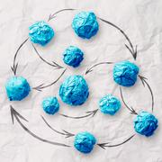 crumpled paper as social network structure on wrinkled paper - stock illustration