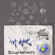 hand drawing diagram of social network structure - stock illustration