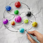 Hand draws colors crumpled paper as social network structure on wrinkled pape Stock Illustration