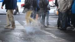 Crowds of People crossing street in New York City Stock Footage