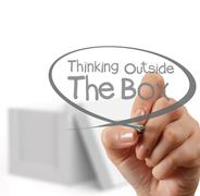 hand draws think outside the box - stock illustration