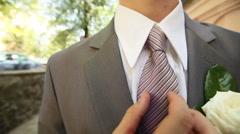 Gray groom suit Stock Footage