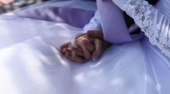 White bridal dress Stock Footage
