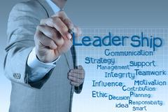businessman writing leadership skill diagram - stock illustration