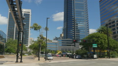 Stock Video Footage of downtown Jacksonville street scene 4k