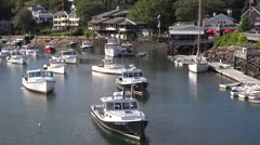 4K Maine scenic fishing village boat cove Stock Footage